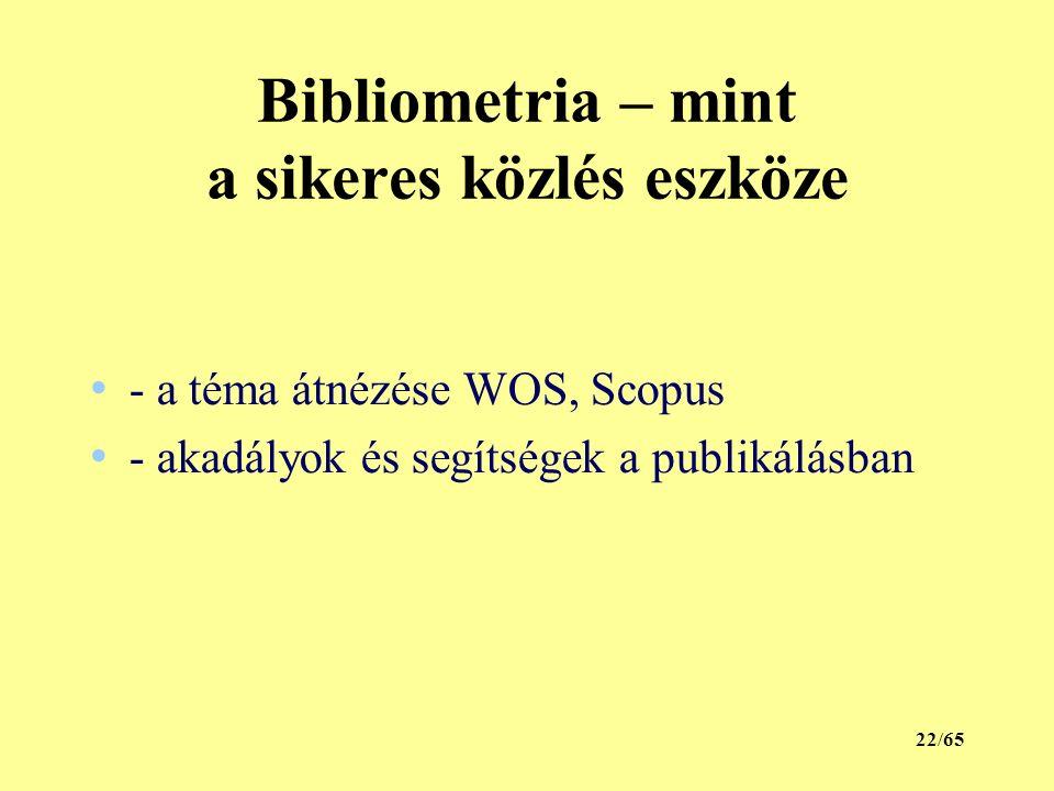 Bibliometria – mint a sikeres közlés eszköze - a téma átnézése WOS, Scopus - akadályok és segítségek a publikálásban 22/65