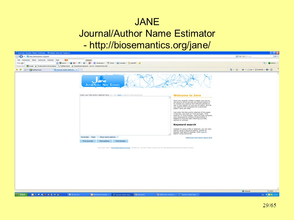 JANE Journal/Author Name Estimator - http://biosemantics.org/jane/ 29/65