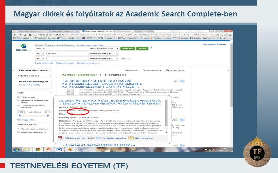 Magyar cikkek és folyóiratok az Academic Search Complete-ben