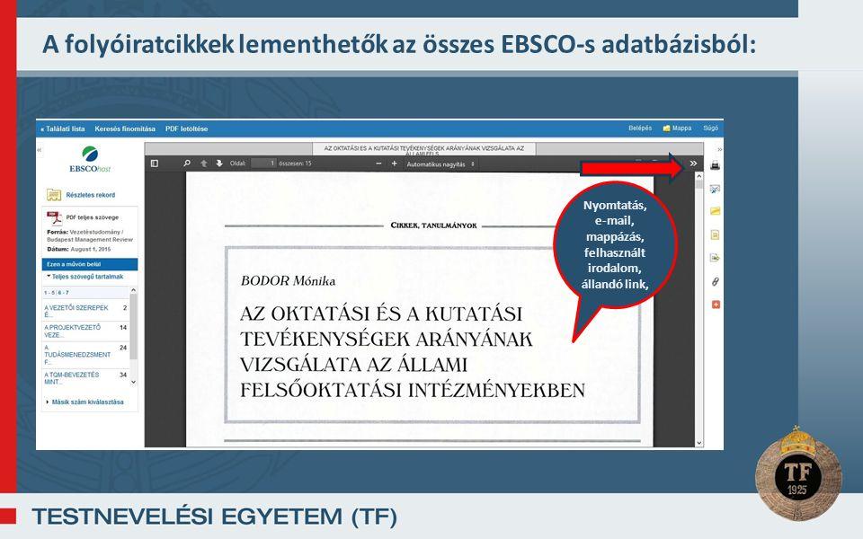 A folyóiratcikkek lementhetők az összes EBSCO-s adatbázisból: Nyomtatás, e-mail, mappázás, felhasznált irodalom, állandó link,