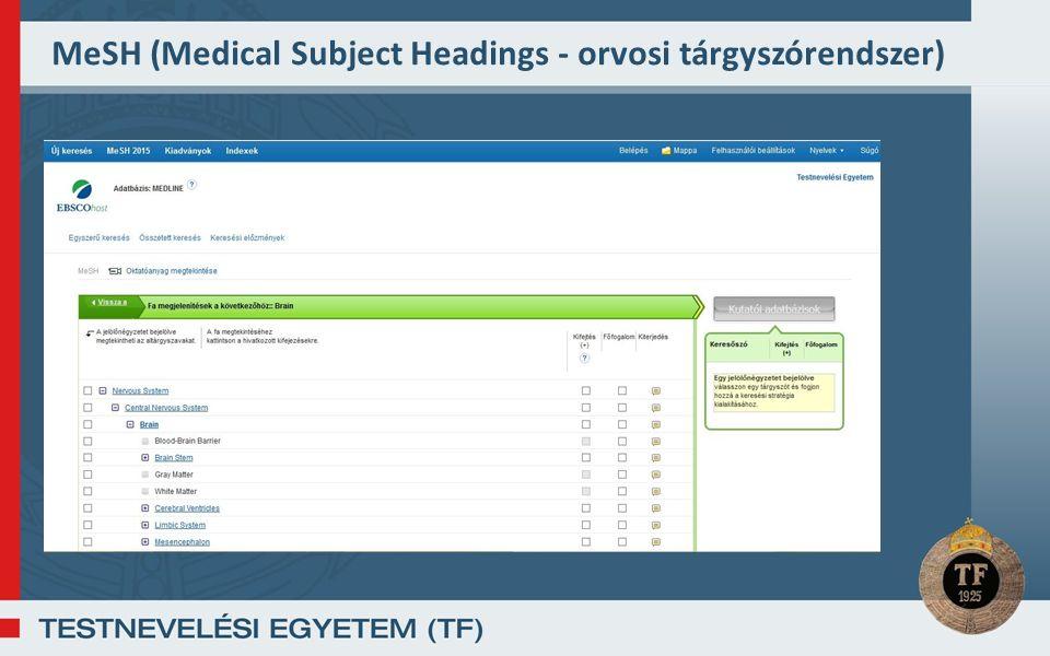 MeSH (Medical Subject Headings - orvosi tárgyszórendszer)