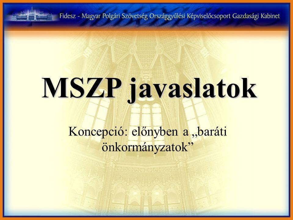 """MSZP javaslatok Koncepció: előnyben a """"baráti önkormányzatok"""