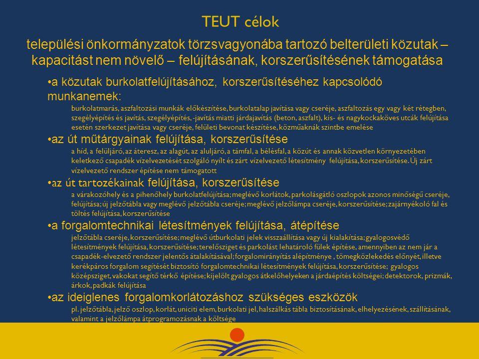TEUT célok települési önkormányzatok törzsvagyonába tartozó belterületi közutak – kapacitást nem növelő – felújításának, korszerűsítésének támogatása