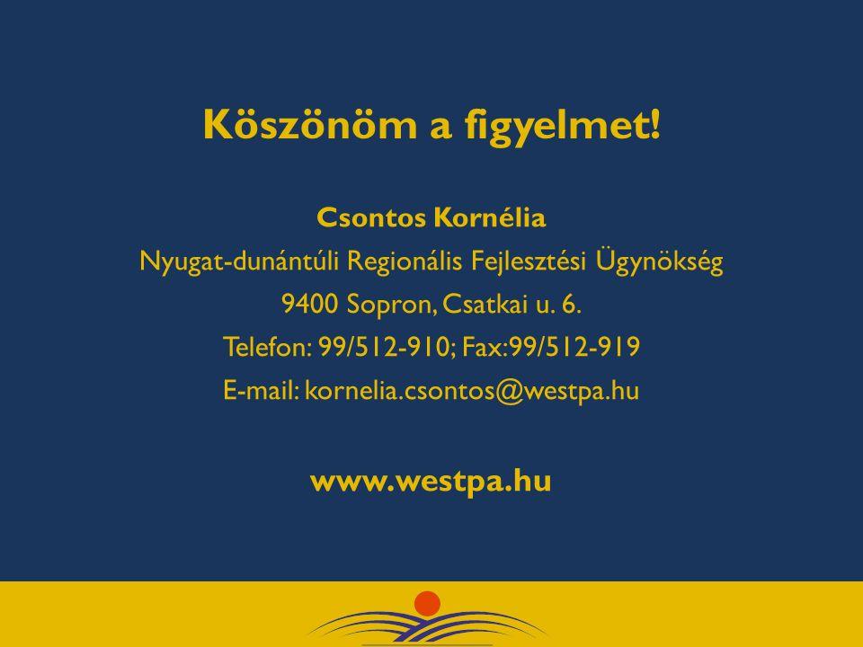 Köszönöm a figyelmet! Csontos Kornélia Nyugat-dunántúli Regionális Fejlesztési Ügynökség 9400 Sopron, Csatkai u. 6. Telefon: 99/512-910; Fax:99/512-91