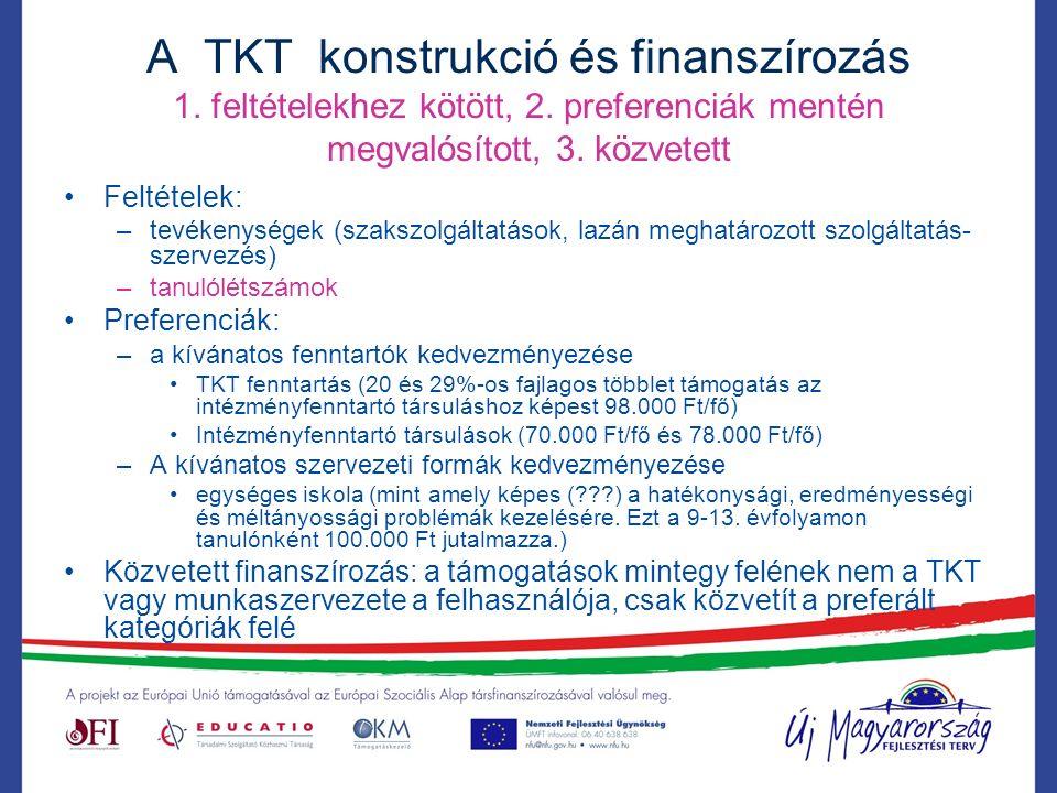 A TKT konstrukció és finanszírozás 1. feltételekhez kötött, 2.