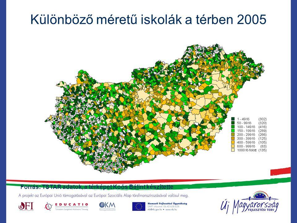 Különböző méretű iskolák a térben 2005 Forrás: TSTAR adatok, a térképet Koós Bálint készítette