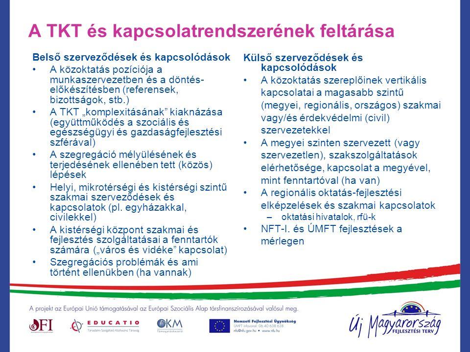 """A TKT és kapcsolatrendszerének feltárása Belső szerveződések és kapcsolódások A közoktatás pozíciója a munkaszervezetben és a döntés- előkészítésben (referensek, bizottságok, stb.) A TKT """"komplexitásának kiaknázása (együttműködés a szociális és egészségügyi és gazdaságfejlesztési szférával) A szegregáció mélyülésének és terjedésének ellenében tett (közös) lépések Helyi, mikrotérségi és kistérségi szintű szakmai szerveződések és kapcsolatok (pl."""
