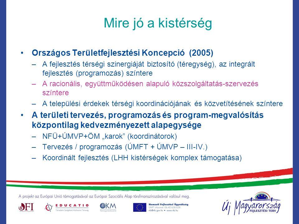 """Mire jó a kistérség Országos Területfejlesztési Koncepció (2005) –A fejlesztés térségi szinergiáját biztosító (téregység), az integrált fejlesztés (programozás) színtere –A racionális, együttműködésen alapuló közszolgáltatás-szervezés színtere –A települési érdekek térségi koordinációjának és közvetítésének színtere A területi tervezés, programozás és program-megvalósítás központilag kedvezményezett alapegysége –NFÜ+ÚMVP+ÖM """"karok (koordinátorok) –Tervezés / programozás (ÚMFT + ÚMVP – III-IV.) –Koordinált fejlesztés (LHH kistérségek komplex támogatása)"""