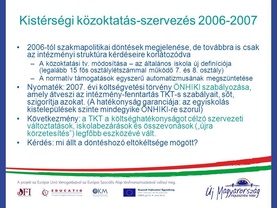 Kistérségi közoktatás-szervezés 2006-2007 2006-tól szakmapolitikai döntések megjelenése, de továbbra is csak az intézményi struktúra kérdéseire korlátozódva –A közoktatási tv.