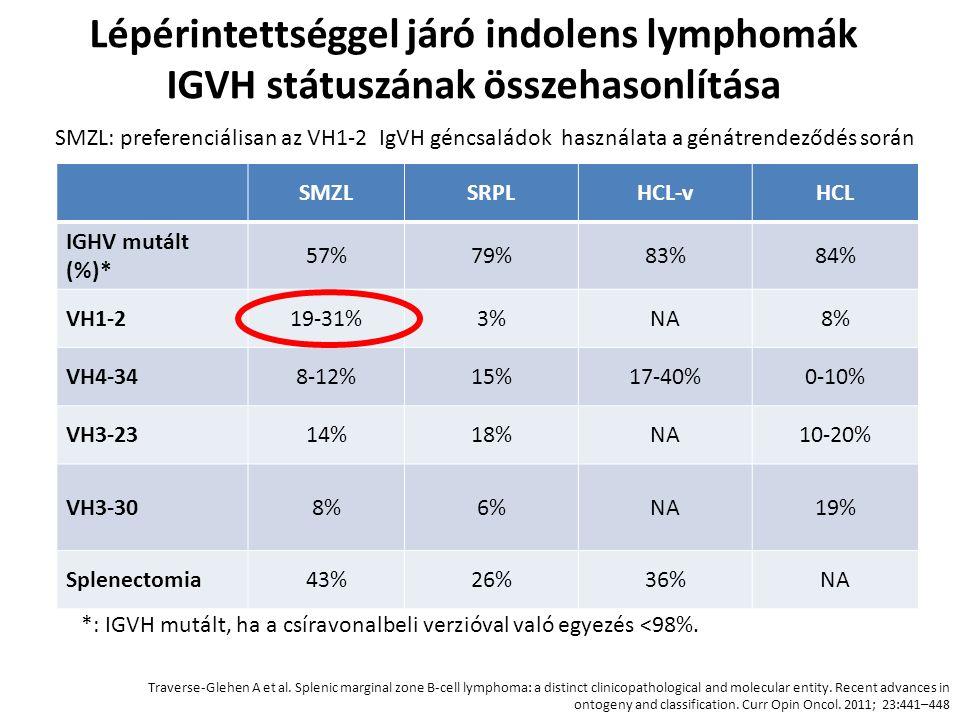 Lépérintettséggel járó indolens lymphomák IGVH státuszának összehasonlítása SMZLSRPLHCL-vHCL IGHV mutált (%)* 57%79%83%84% VH1-219-31%3%NA8% VH4-348-1