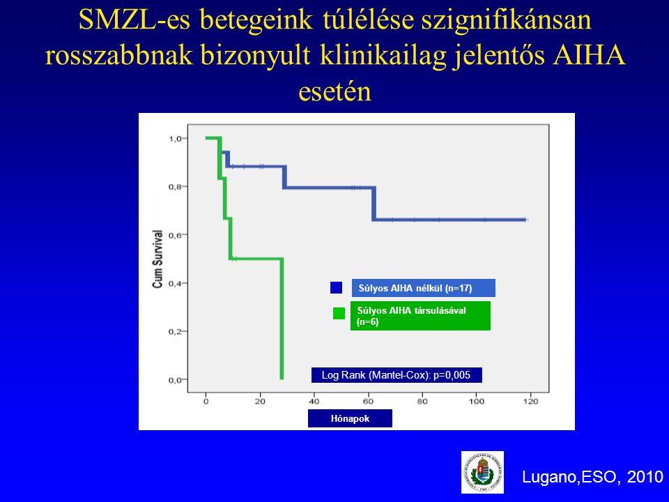 Súlyos AIHA nélkül (n=17) Súlyos AIHA társulásával (n=6) Log Rank (Mantel-Cox): p=0,005 SMZL-es betegeink túlélése szignifikánsan rosszabbnak bizonyul