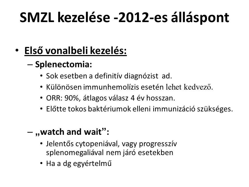 SMZL kezelése -2012-es álláspont Első vonalbeli kezelés: – Splenectomia: Sok esetben a definitív diagnózist ad. Különösen immunhemolízis esetén lehet