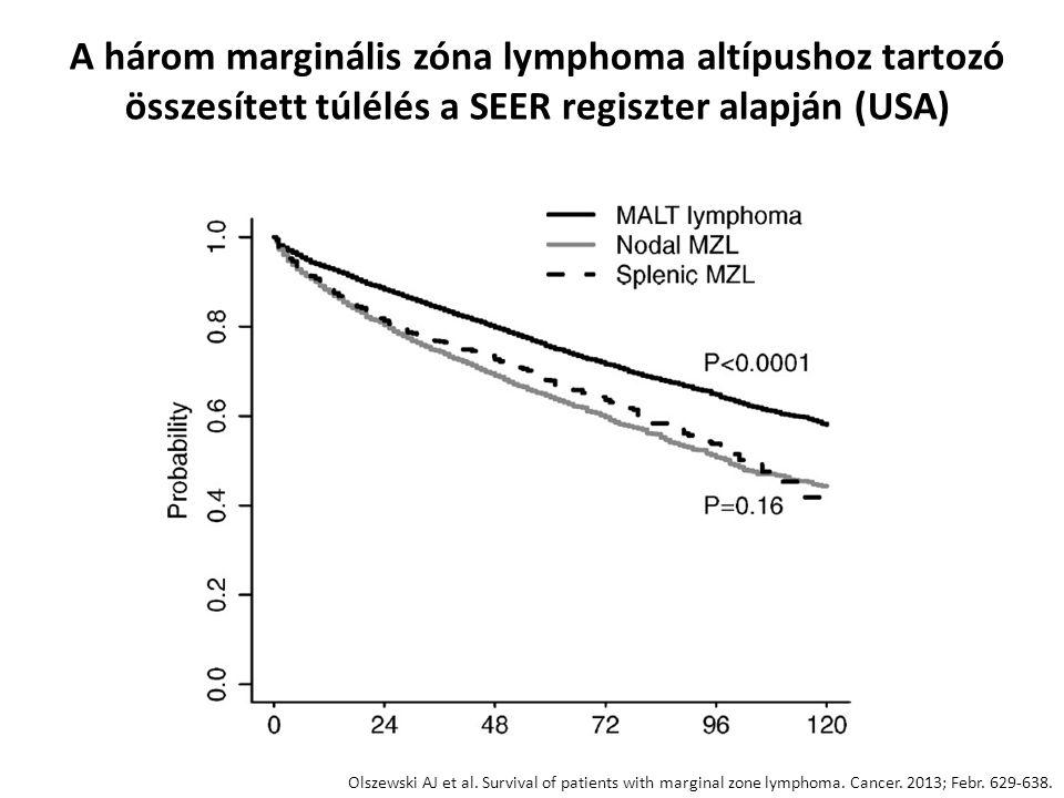 A három marginális zóna lymphoma altípushoz tartozó összesített túlélés a SEER regiszter alapján (USA) Olszewski AJ et al. Survival of patients with m