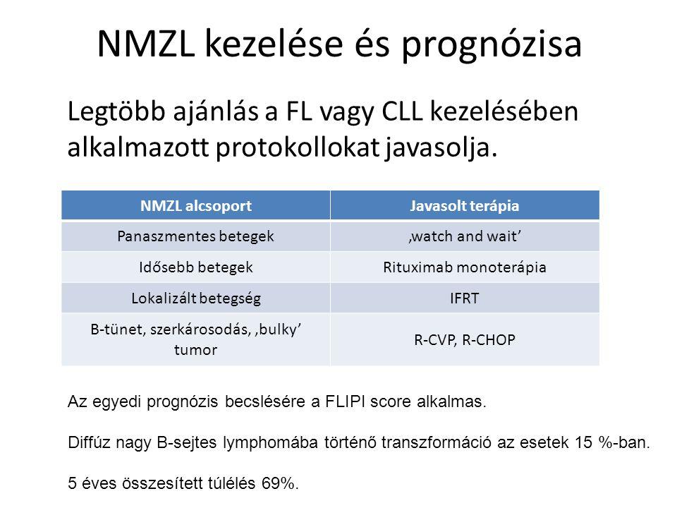 NMZL kezelése és prognózisa Legtöbb ajánlás a FL vagy CLL kezelésében alkalmazott protokollokat javasolja. NMZL alcsoportJavasolt terápia Panaszmentes