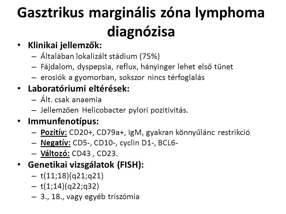 Gasztrikus marginális zóna lymphoma diagnózisa Klinikai jellemzők: – Általában lokalizált stádium (75%) – Fájdalom, dyspepsia, reflux, hányinger lehet