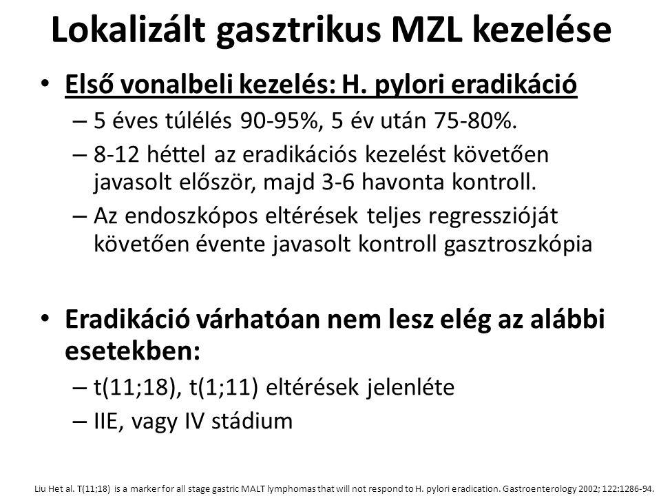 Lokalizált gasztrikus MZL kezelése Első vonalbeli kezelés: H. pylori eradikáció – 5 éves túlélés 90-95%, 5 év után 75-80%. – 8-12 héttel az eradikáció