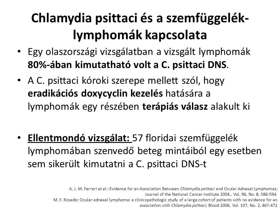 Chlamydia psittaci és a szemfüggelék- lymphomák kapcsolata Egy olaszországi vizsgálatban a vizsgált lymphomák 80%-ában kimutatható volt a C. psittaci