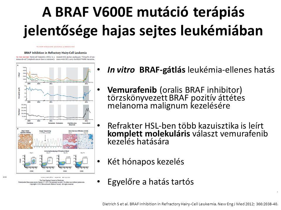 A BRAF V600E mutáció terápiás jelentősége hajas sejtes leukémiában In vitro BRAF-gátlás leukémia-ellenes hatás Vemurafenib (oralis BRAF inhibitor) tör