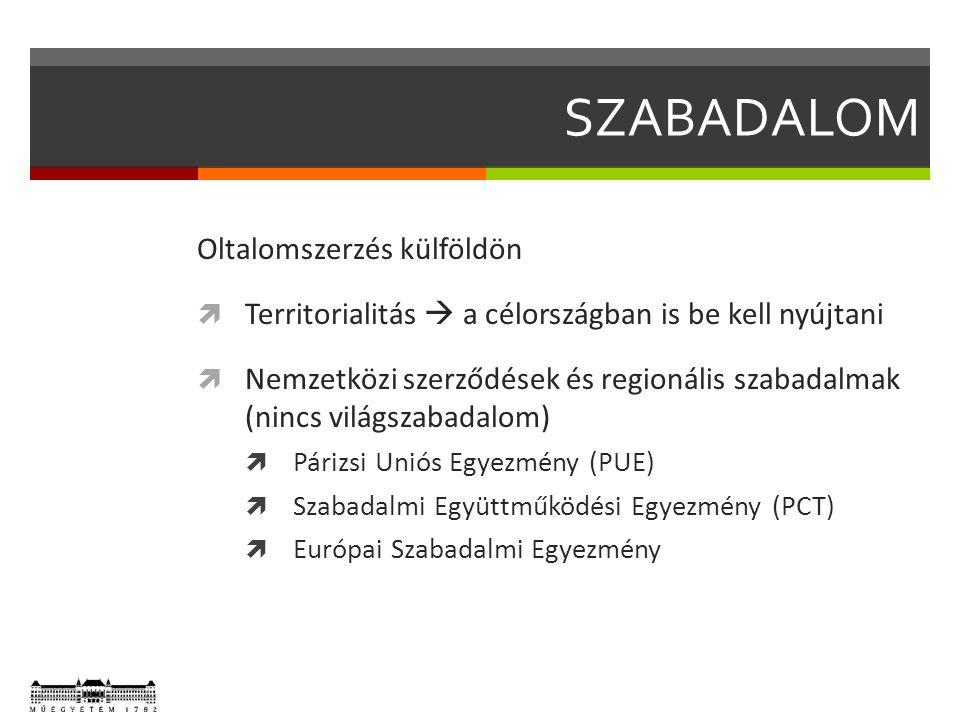 SZABADALOM Oltalomszerzés külföldön  Territorialitás  a célországban is be kell nyújtani  Nemzetközi szerződések és regionális szabadalmak (nincs v