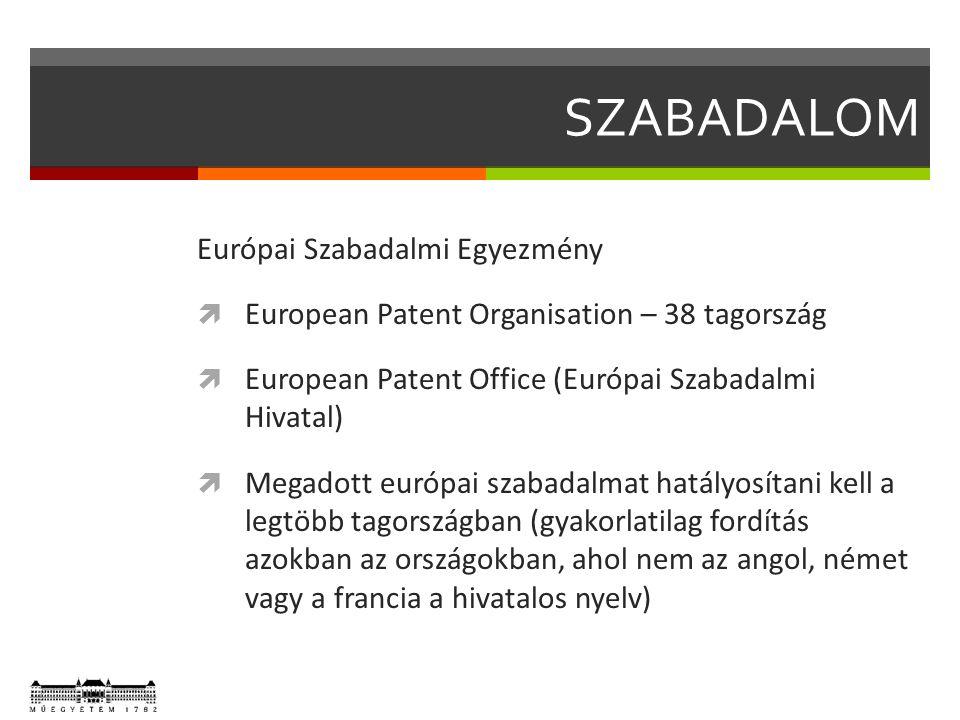 SZABADALOM Európai Szabadalmi Egyezmény  European Patent Organisation – 38 tagország  European Patent Office (Európai Szabadalmi Hivatal)  Megadott európai szabadalmat hatályosítani kell a legtöbb tagországban (gyakorlatilag fordítás azokban az országokban, ahol nem az angol, német vagy a francia a hivatalos nyelv)