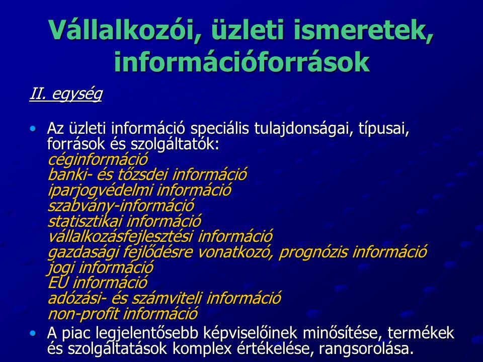 Vállalkozói, üzleti ismeretek, információforrások II.