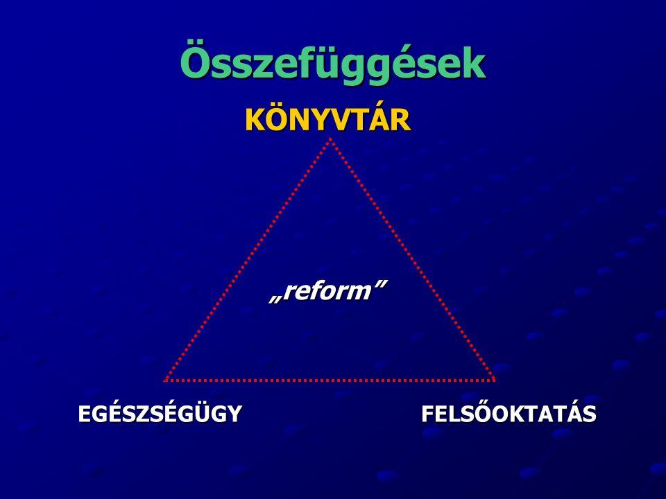 """Összefüggések KÖNYVTÁR EGÉSZSÉGÜGYFELSŐOKTATÁS """"reform"""