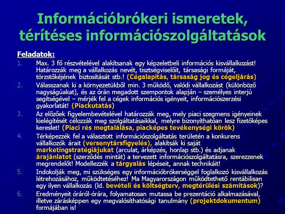 Információbrókeri ismeretek, térítéses információszolgáltatások Feladatok: 1.Max.