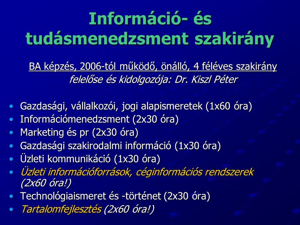 Információ- és tudásmenedzsment szakirány BA képzés, 2006-tól működő, önálló, 4 féléves szakirány felelőse és kidolgozója: Dr.