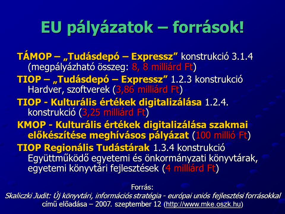 EU pályázatok – források.