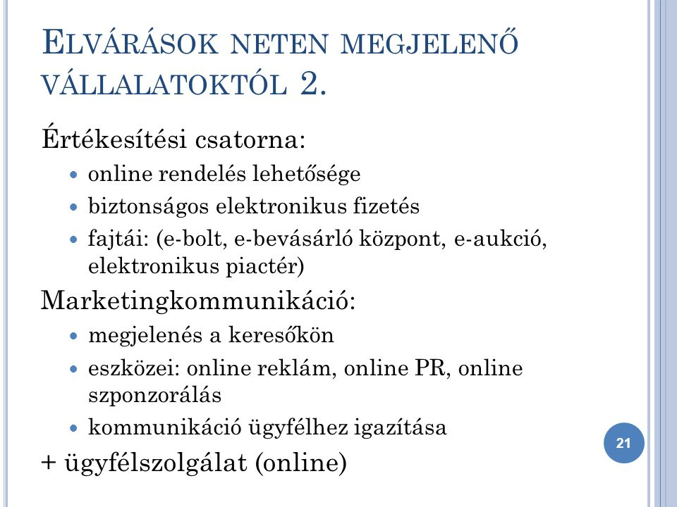 E LVÁRÁSOK NETEN MEGJELENŐ VÁLLALATOKTÓL 2.