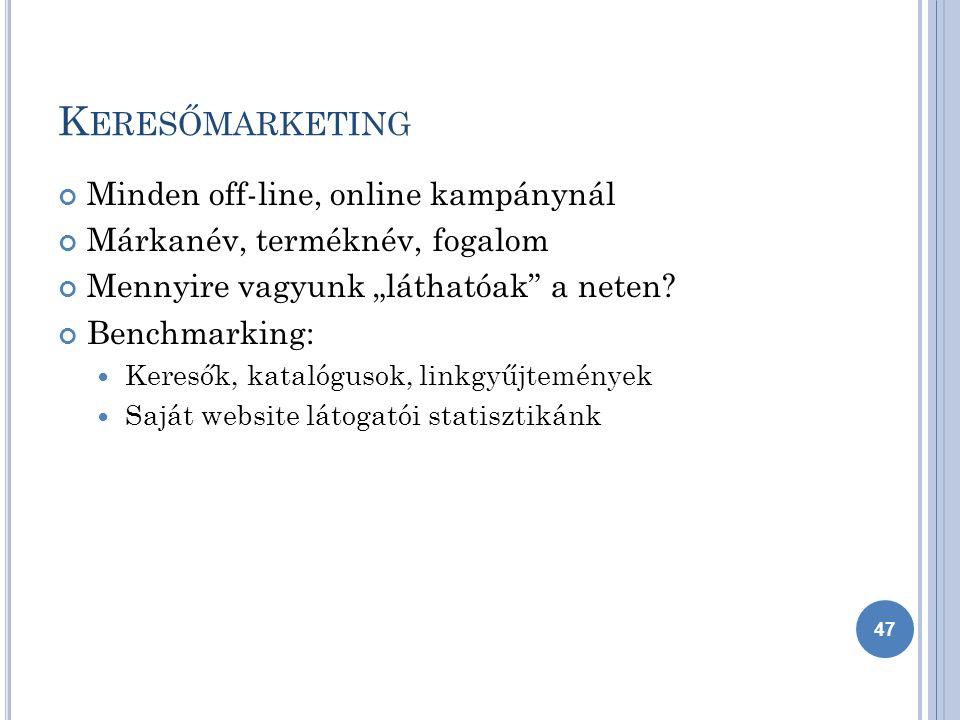 """K ERESŐMARKETING Minden off-line, online kampánynál Márkanév, terméknév, fogalom Mennyire vagyunk """"láthatóak a neten."""