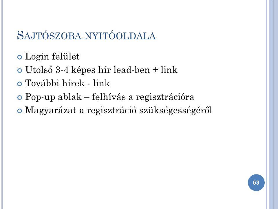 S AJTÓSZOBA NYITÓOLDALA Login felület Utolsó 3-4 képes hír lead-ben + link További hírek - link Pop-up ablak – felhívás a regisztrációra Magyarázat a regisztráció szükségességéről 63