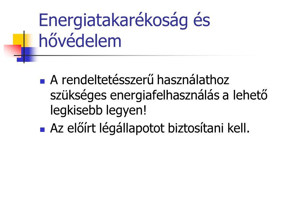 Energiatakarékoság és hővédelem A rendeltetésszerű használathoz szükséges energiafelhasználás a lehető legkisebb legyen.