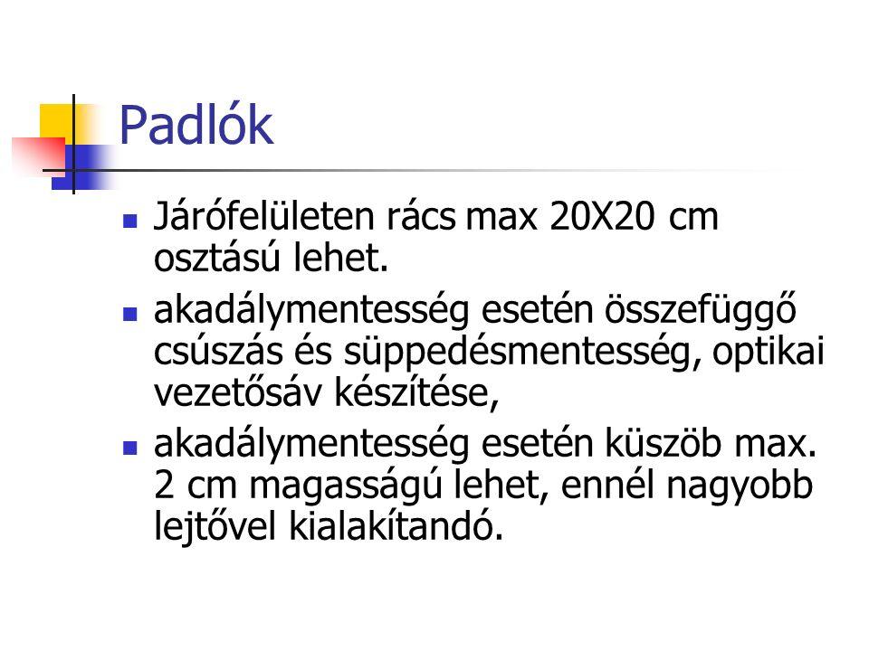 Padlók Járófelületen rács max 20X20 cm osztású lehet.