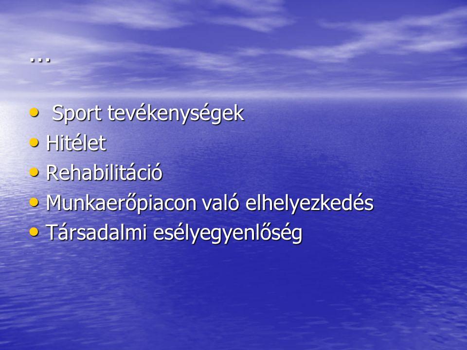 … Sport tevékenységek Sport tevékenységek Hitélet Hitélet Rehabilitáció Rehabilitáció Munkaerőpiacon való elhelyezkedés Munkaerőpiacon való elhelyezkedés Társadalmi esélyegyenlőség Társadalmi esélyegyenlőség