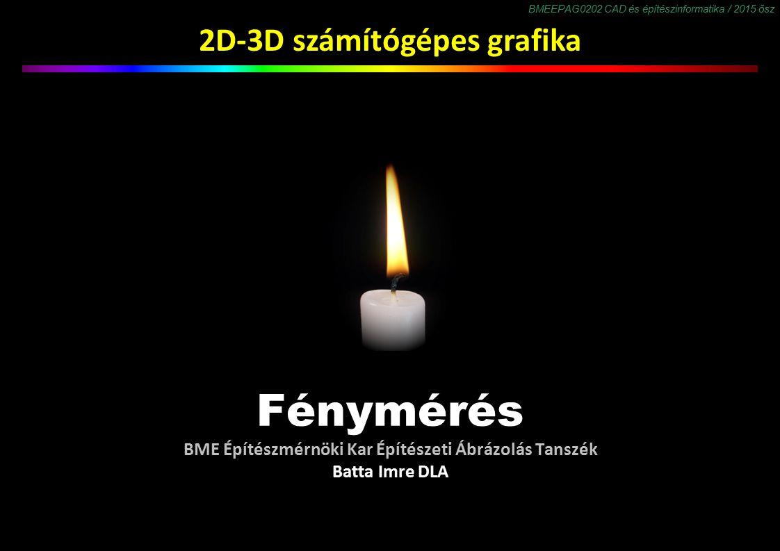 BMEEPAG0202 CAD és építészinformatika / 2015 ősz 2D-3D számítógépes grafika Fénymérés BME Építészmérnöki Kar Építészeti Ábrázolás Tanszék Batta Imre DLA