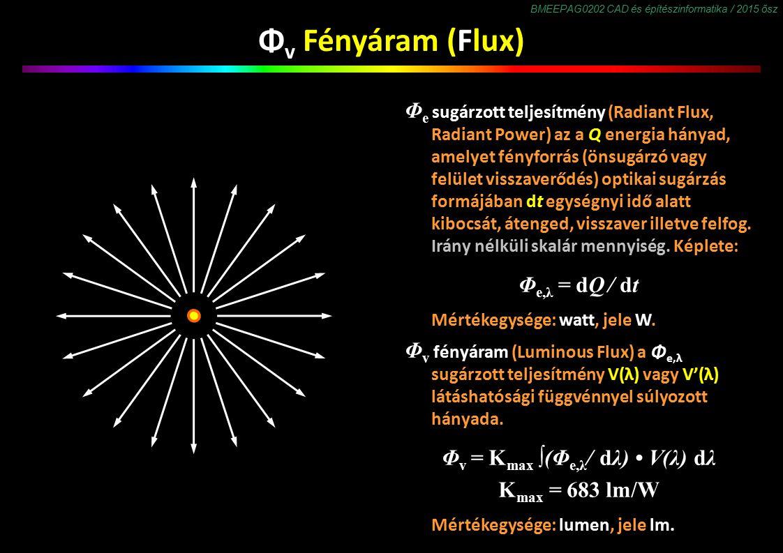 BMEEPAG0202 CAD és építészinformatika / 2015 ősz Φ v Fényáram (Flux) Φ e sugárzott teljesítmény (Radiant Flux, Radiant Power) az a Q energia hányad, amelyet fényforrás (önsugárzó vagy felület visszaverődés) optikai sugárzás formájában dt egységnyi idő alatt kibocsát, átenged, visszaver illetve felfog.