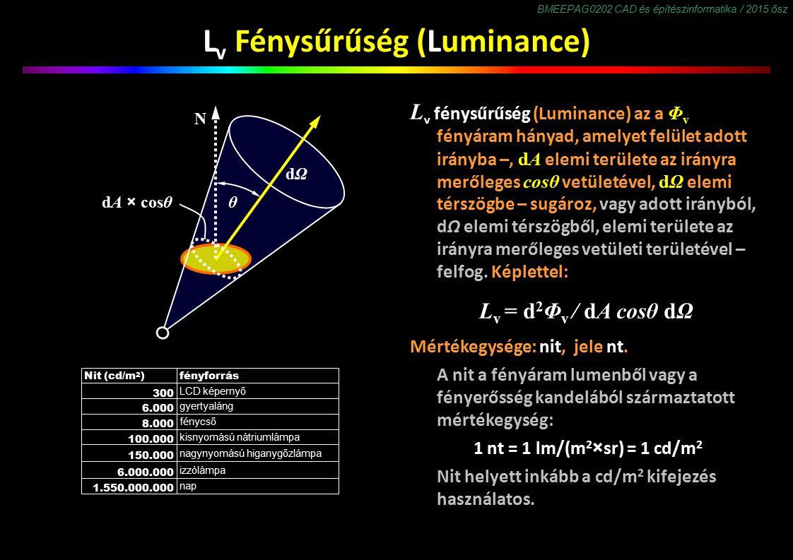 BMEEPAG0202 CAD és építészinformatika / 2015 ősz L v Fénysűrűség (Luminance) L v fénysűrűség (Luminance) az a Φ v fényáram hányad, amelyet felület adott irányba –, dA elemi területe az irányra merőleges cosθ vetületével, dΩ elemi térszögbe – sugároz, vagy adott irányból, dΩ elemi térszögből, elemi területe az irányra merőleges vetületi területével – felfog.