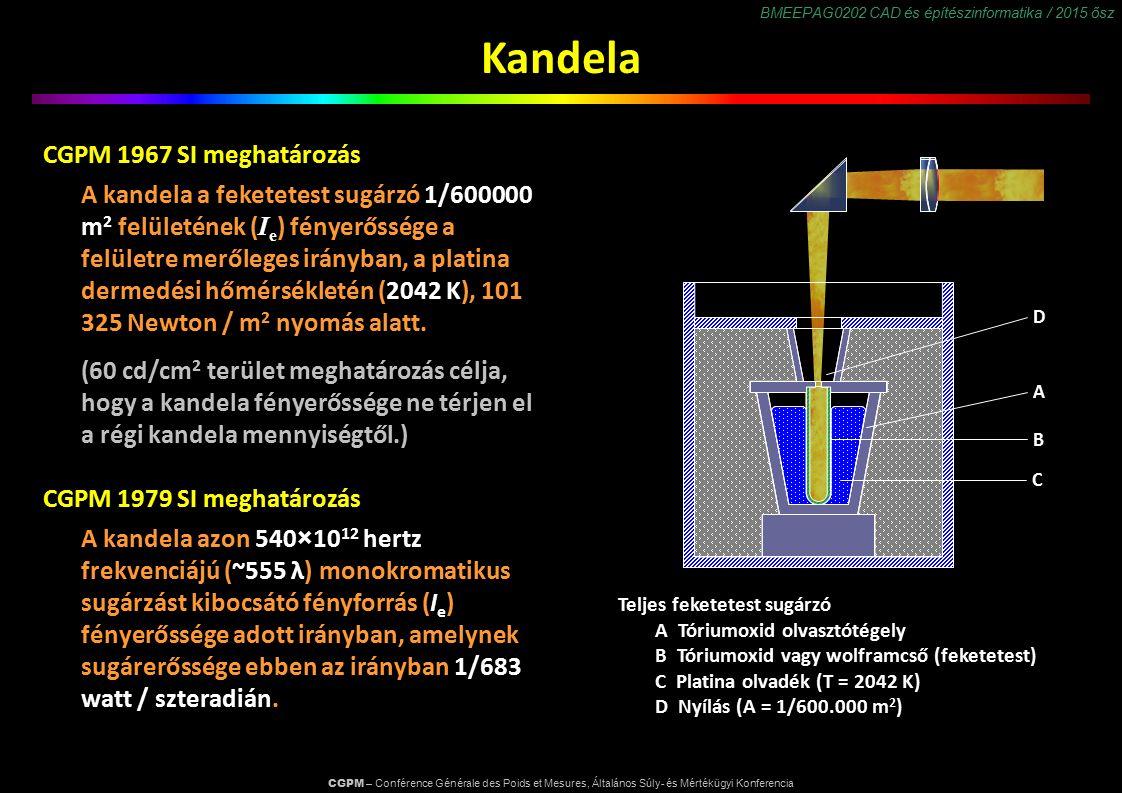 BMEEPAG0202 CAD és építészinformatika / 2015 ősz Kandela CGPM 1967 SI meghatározás A kandela a feketetest sugárzó 1/600000 m 2 felületének ( I e ) fényerőssége a felületre merőleges irányban, a platina dermedési hőmérsékletén (2042 K), 101 325 Newton / m 2 nyomás alatt.
