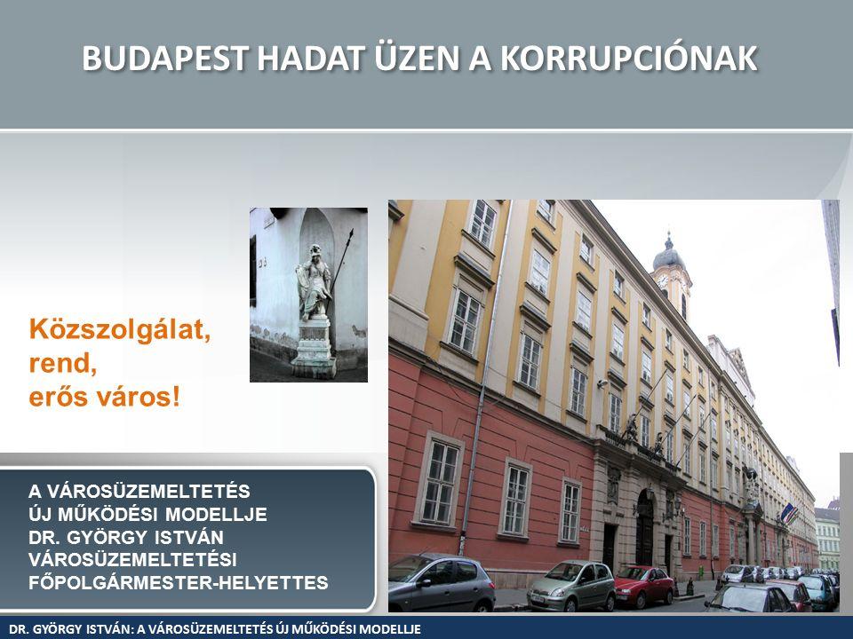 BUDAPEST HADAT ÜZEN A KORRUPCIÓNAK Közszolgálat, rend, erős város.