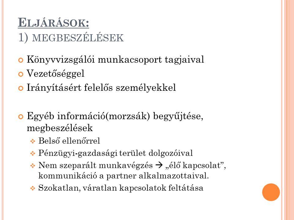 E LJÁRÁSOK : 1) MEGBESZÉLÉSEK Könyvvizsgálói munkacsoport tagjaival Vezetőséggel Irányításért felelős személyekkel Egyéb információ(morzsák) begyűjtés
