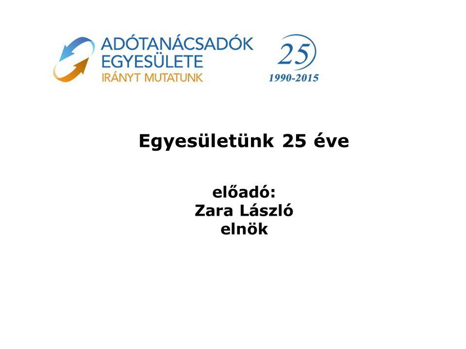 Egyesületünk 25 éve előadó: Zara László elnök