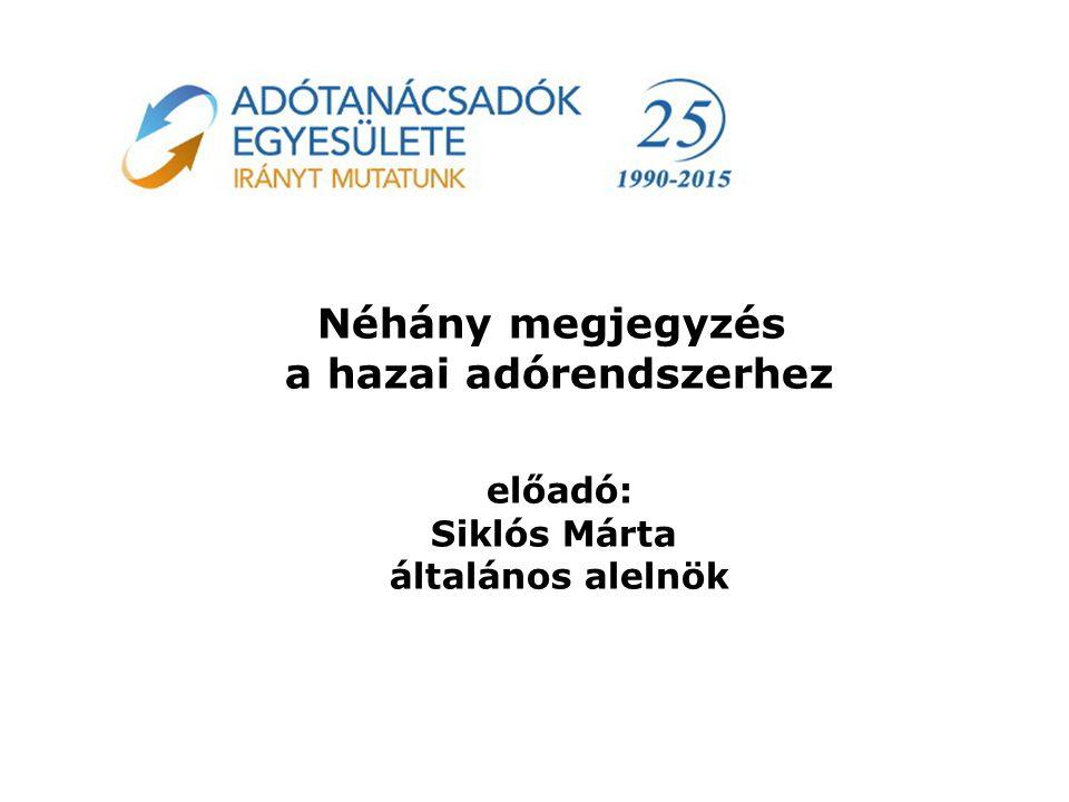 Néhány megjegyzés a hazai adórendszerhez előadó: Siklós Márta általános alelnök