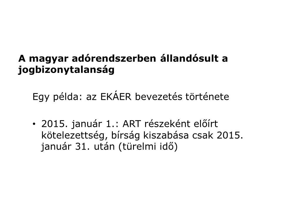 A magyar adórendszerben állandósult a jogbizonytalanság Egy példa: az EKÁER bevezetés története 2015.