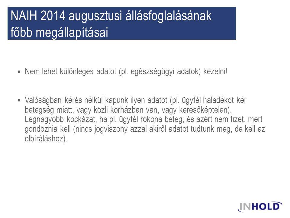 NAIH 2014 augusztusi állásfoglalásának főbb megállapításai  Nem lehet különleges adatot (pl. egészségügyi adatok) kezelni!  Valóságban kérés nélkül