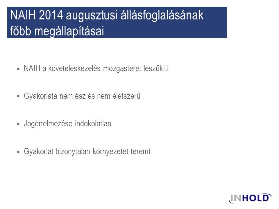 NAIH 2014 augusztusi állásfoglalásának főbb megállapításai  NAIH a követeléskezelés mozgásteret leszűkíti  Gyakorlata nem ész és nem életszerű  Jog