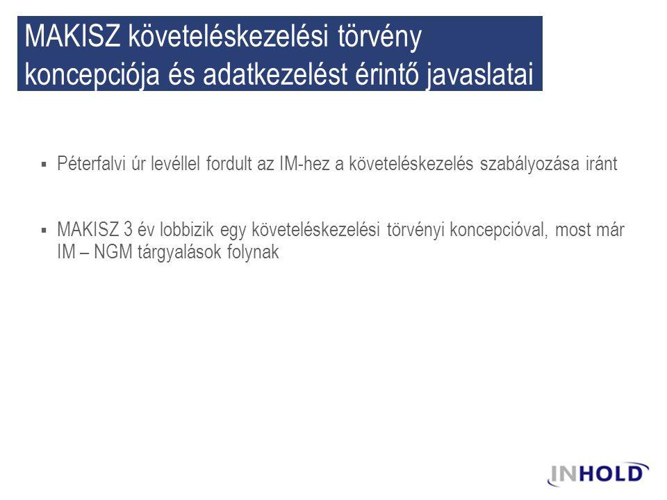  Péterfalvi úr levéllel fordult az IM-hez a követeléskezelés szabályozása iránt  MAKISZ 3 év lobbizik egy követeléskezelési törvényi koncepcióval, most már IM – NGM tárgyalások folynak