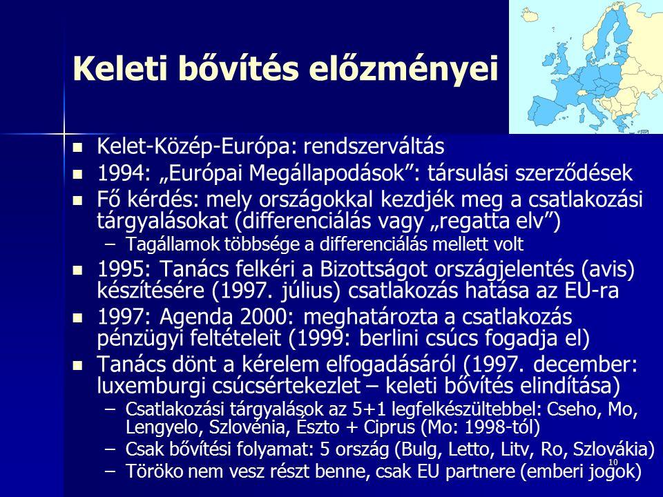 """10 Keleti bővítés előzményei Kelet-Közép-Európa: rendszerváltás 1994: """"Európai Megállapodások : társulási szerződések Fő kérdés: mely országokkal kezdjék meg a csatlakozási tárgyalásokat (differenciálás vagy """"regatta elv ) – –Tagállamok többsége a differenciálás mellett volt 1995: Tanács felkéri a Bizottságot országjelentés (avis) készítésére (1997."""