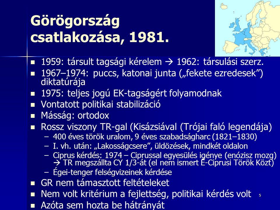 5 Görögország csatlakozása, 1981. 1959: társult tagsági kérelem  1962: társulási szerz.