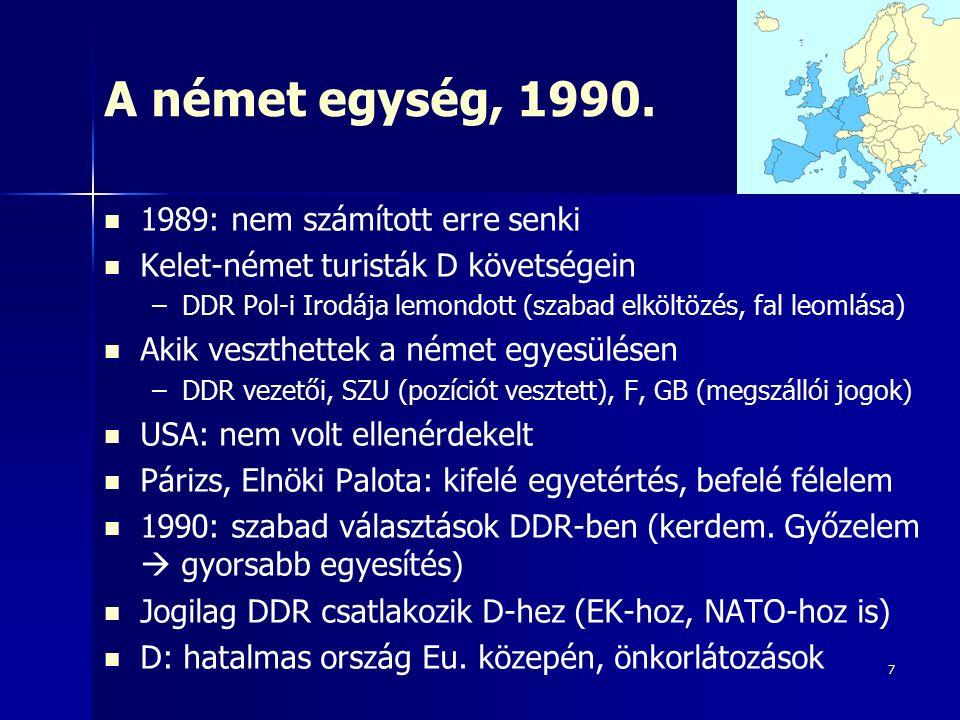 8 A fokozatosan bővülő EU, mint Európa szinonimája Maastrichti Szerződés: bármely európai ország csatlakozhat, amely tiszteletben tartja az EU elveit – –Marokkó: Európán kívüliség miatt utasították vissza – –Törökország: egyéb tényezők miatt utasították vissza – –De: Ciprus + számos külbirtok (pl.